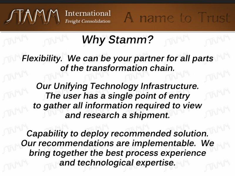 Why Stamm?